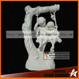 Swing Children Stone Carving Statues for Garden Park Nss033