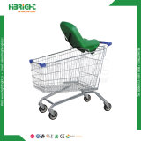 Supermarket Steel Zinc Shopping Trolley with Soft Baby Seat