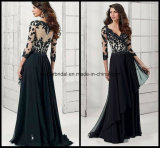 Black Lace Formal Prom Gowns Chiffon A-Line Mother of Bride Dresses Z4017