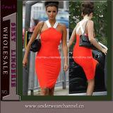 Orange Sexy Lady Halter Pencial Evening Party MIDI Dress (6501)