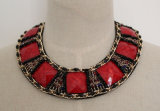 High Quality Red Zircon Costume Fashion Jewelry Necklace (JE0039-3)