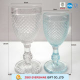 Fancy Beautiful Embossed Wine Goblet Glass Cup with Foot