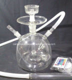 Silicone Hose Glass Hookah with LED Light