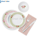 16PCS Classic Rose Round Ceramic Porcelain Dinnerware Set