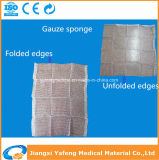 Absorbent Medical Cotton Gauze Swab with Folded Edges