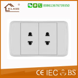 110V~250V Double 2 Pin Multiple Power Socket with PC Cover