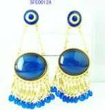 Fashion Jewelry Stone with Chain Long Earring Jewelry (SFE0012)