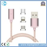 3 in 1 Nylon Braided Magnetic USB Charger Data Transfer Cable for Type-C iPhone Android