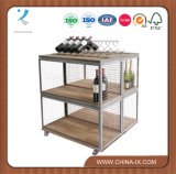 Dual Sided Display Unit on Castors with Double Wine Rack