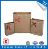 High Quality Embossed Kraft Paper Gift Bag with Ribbon Decoration