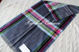 Worsted Cashmere Scarf with Check Pattern