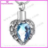 Elegant Feather Heart Cremation Jewelry Pendant for Ashes