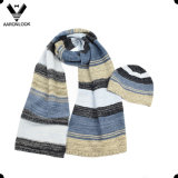 Hot Selling Winter Multicolor Stripe Knitted Scarf Beanie Knitted Set