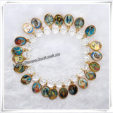 Factory Discount Hot Sale Religious Transparent Beads Rosary Saint′s Bracelet (IO-CB022)