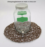 Glass Storage Water/Wine/Beverage Jar with Metal Lid and Tap