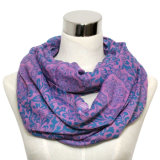Lady Fashion Cotton Voile Printed Infinity Scarf (YKY1011)