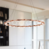 Modern Rose Gold Round Ring Aluminium Pendant Lamp for Living Room