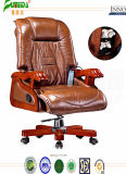 Swivel Leather Executive Office Chair with Solid Wood Foot (FY1308)