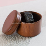 Ladies Leather Jewelry Watch Box Round Case
