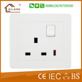 British Standard 86*86 PC White Switched 13A Socket with Light