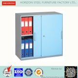 Steel Low Storage Cabinet with Double Swinging Steel Framed Glass Doors