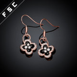 Fashion Rose Gold Plated Flower Rhinestone Dangle Earrings for Girs