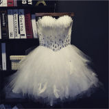 Beading Feather Strapless Tulle Short Mini Prom Dress (prom-93002)
