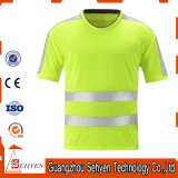 High Visibility Safety Warning Reflective T-Shirt of Cotton and Polyester