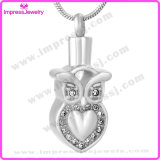 Ijd9637 Owl Shape Crystal Stainless Steel Cremation Pendant Necklace Memorial Ashes Keepsake Holder Remembrance Jewelry