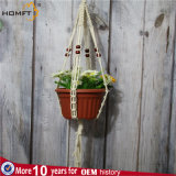 Cotton Rope with Red Wood Bead Flower Pot Holder Use in Hotel