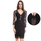 Lace Sleeve&Back High Quality Women Fashion Dress
