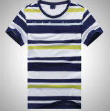Men′s Striped T Shirt with Short Sleeve and Crew Neck