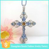 2016 Fashion Mens Gemstone Crystal Custom Jewelry Cross Silver Necklace