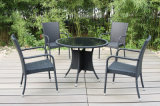 Garden Outdoor Rattan Furniture Dining Table 4 Chairs (FS-2055+ FS-2057)