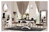 Good Price Stainless Steel Frame Marble Dining Table Set