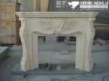 Granite/Marble Statue Fireplace Mantle/Mantels with Electric Fireplace for Indoor (SC039)