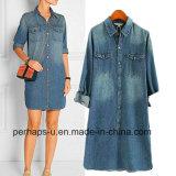 Fashion Casual Ladies Shirt Denim Dress with Cotton