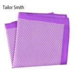 Fashionable Purple Silk Polyester Stripe Printed Pocket Square Hanky Handkerchief