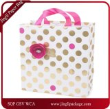 Foil Gold Polka Dots Printing Paper Bag, Paper Gift Bag, Art Paper Bag