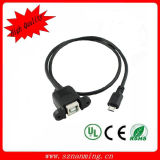Printer Cable Panel Mount to Micro USB Cable