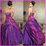 Strapless Purple Satin Beaded Quinceanera Dress Bridal Ball Gown, Custom Designer Dresses Q205