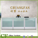 80 mm Thickness Glass Office Reception Desk with Aluminum Frame