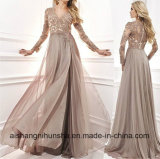Elegant A-Line V-Neck Chiffon Lace Beaded Long Prom Dress