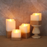 Paraffin Wax Square Electric LED Candle Rustic Melted Top Flameless Candle