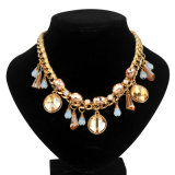 Glass Stone with Satin Braided Necklace (XJW13591)
