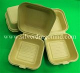 Compostable Biodegradable Disposable Raw Pulp Paper Box, 450ml Hamburger Box