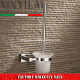 Square Brass Chrome Toilet Brush Holder with Glass Drain