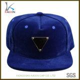 Custom Navy Blue Suede Metal Logo Snap Back Caps