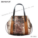Latest Fashion Contrast Fabric and PU Lady Handbag Casual Bag Shoulder Cross Body with Good Quality Competitive Price
