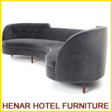 Grey Fabric Half Moon 4 Seat Sectional Sofa/Modern Hotel Couch Sofa